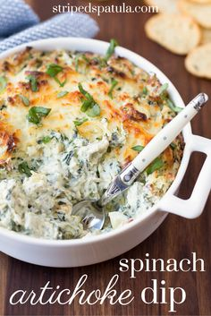 The BEST baked Spinach and Artichoke Dip! Creamy, cheesy, and loaded ...