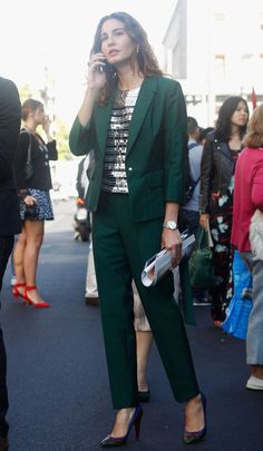 A striped tee injects a more casual vibe into this forest green combo. | Street Styled: Over 180 Snaps Straight From Milan Fashion Week | POPSUGAR Fashion