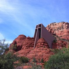 Sedona. Chapel of the Holy Cross...so cool! Church built into the side of the rocks. I think it's great that they allow people to go up there and see it. Even when church is in session.