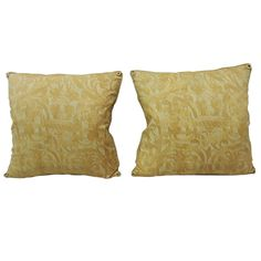 Pair of Yellow Uccelli Fortuny Pillows with Decorative Rope Trim
