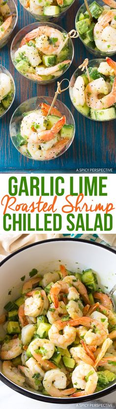 Garlic Lime Roasted Shrimp Salad Recipe - This chilled seafood salad is loaded with shrimp, avocado, cucumber, fresh mint, and cilantro. It makes an easy and elegant appetizer for Spring and Summer parties! via @spicyperspectiv