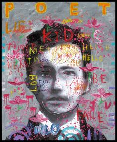 Troy Henriksen - Self Portrait Poet kid - Acrylique et mixte sur toile