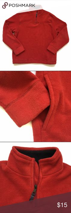 Red Fleece Pullover Thick and warm. Red fleece pullover has a high collar with a partial zipper and an interior elastic cinch pull at the waist. Smoke-free and in excellent condition. GAP Shirts Sweatshirts & Hoodies