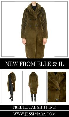 This is the 'Trini' Khaki Faux Fur Long Coat by stunning brand, Elle & Il. This gorgeous piece features a lovely collar, a central button fastening, and side pockets. This is the perfect piece to carry you into the colder season! Long Faux Fur Coat, Shop Now, Pockets, Button, Clothing, Shopping, Collection, Fashion, Outfits