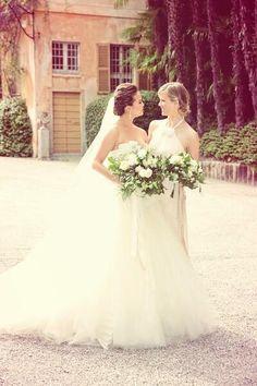 Chrissy Teigen + bridesmaid Brooklyn Decker at Teigen's wedding to John Legend
