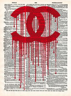 Graffiti painted version of iconic Chanel logo printed on dictionary page texture. Chanel Art, Chanel Logo, Chanel Style, Photo Wall Collage, Picture Wall, Graffiti Painting, Graffiti Art, Dictionary Art, Jolie Photo