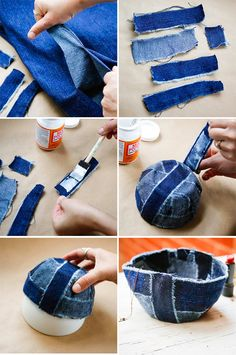 Recycle Old Jeans into a Patchwork Jean Bowl