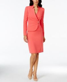 Tahari ASL Petite Crepe Crossover Jacket Skirt Suit