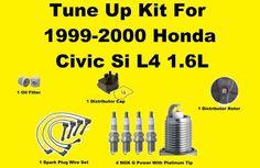 Tune Up Kit For 1999-2000 Honda Civic Spark Plug Wire Set, Distributor Cap, Roto