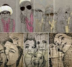 Nike Schroeder - Textile art who has embroidery stitch onto fabric to recreate an image Freehand Machine Embroidery, Free Machine Embroidery, Embroidery Art, Thread Painting, Thread Art, Textile Fiber Art, Textile Artists, Foto Transfer, Contemporary Embroidery