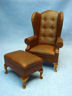 Miniature Faux Leather Wing Back Chair With Ottoman Miniature Furniture, Dollhouse  Furniture, Doll Furniture