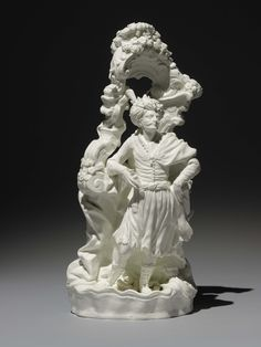 Spanish Alcora Porcelain Turk Gallant within an Arbour