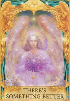 Angel Answers Oracle Cards - All artwork by Marius Michael-George. Fortune Telling, Angel Readings. Purple angel with flowers