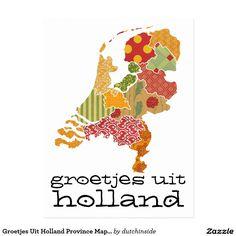 Groetjes Uit Holland Province Map Patchwork Style Postcard by @DutchInside on @zazzle