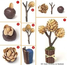 DIY Pistachios Shell Tree for all who love Pistachios.gr 2015 11 Pos-na-ftiaxete-maksilarakia-keltikous-kompous-pillow-knots.DIY and Crafts: Easy Pistachio Flowers - Sweet for Mother's Day - SalvabraniArtichoke out of pistachios. Art Diy, Art N Craft, Nature Crafts, Decor Crafts, Flower Crafts, Diy Flowers, Pista Shell Crafts, Diy Niños Manualidades, Ramadan Decoration