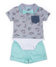 Look at this Little Lad Heather Gray & Aqua Dinosaur Layered Polo Set - Infant on #zulily today!