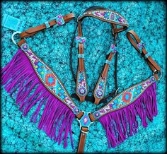 purple fringe horse breast collar and matching bridle | Chevron Aztec Purple Fringe Tack Set from Deuces Wild Custom Tack More