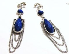 Handcrafted  Clip On Earrings  Double Blue Stone  Chained by ADKOR, $11.00