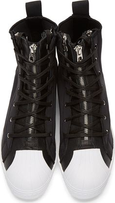 Yohji Yamamoto Black Neoprene Zipper Star adidas Edition Sneakers