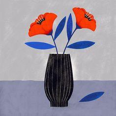 Flowers - Illustration by Carmi Grau Botanical Wall Art, Botanical Drawings, Art And Illustration, Graphic Design Illustration, Guache, Plant Art, Arte Floral, Floral Illustrations, Fractal Art