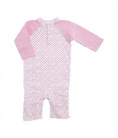 aden + anais - Long Sleeve Henley One-Piece (Infant) (Bead Dot) Girl's Jumpsuit & Rompers One Piece