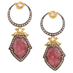 Pink Tourmaline Portrait Earrings