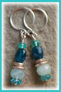 "Sea Treasure Earrings... IN THE MIX Milky Aquamarine & shades of Apatite in deep blue & turquoise Hilltribe silver accents dangling from a ""C"" shaped hoop-style earwire Earrings measure....1.75 inches from top of earwire"