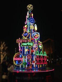 neon Xmas tree - Sanlitun,Beijing Christmas World, Diy Christmas Tree, Modern Christmas, Christmas Design, Christmas Themes, Christmas Lights, Christmas Wreaths, Merry Christmas, Christmas Decorations