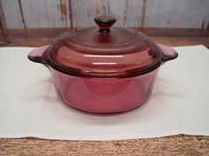 Vintage Cranberry Corning Ware Casserole Dish 1148 by GandTVintage