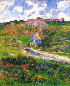 Bretons on the Banks of a River by Henri Moret, a French Impressionist painter. He was one of the artists who associated with Gauguin at Pont-Aven in Brittany.