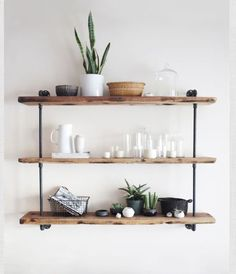 More ideas for cool shelves, with wood and steel