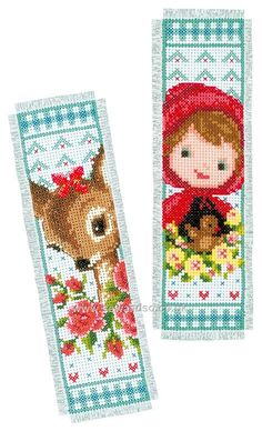Bambi and Red Riding Hood Bookmarks Cross Stitch Kit 123 Cross Stitch, Cross Stitch Books, Cross Stitch Bookmarks, Beaded Cross Stitch, Cross Stitch Borders, Cross Stitch Designs, Cross Stitching, Cross Stitch Embroidery, Cross Stitch Patterns