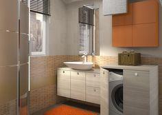 Bagno piccolo con lavatrice - Piccolo bagno moderno con posto lavatrice