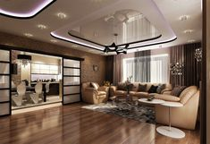 In modern living room interior stretch ceiling design is used much more often than any other types of coatings. Pop False Ceiling Design, Ceiling Design Living Room, Living Room Tv, Living Room Interior, Extra Wide Curtains, Curtain Designs, Modern House Design, Decoration, Modern Decor