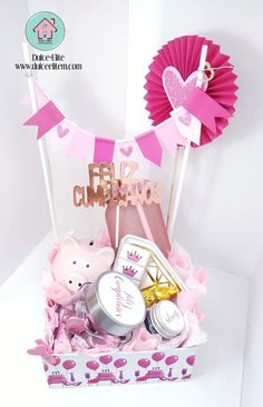 Valentine Baskets, Valentines Gift Box, Birthday Gifts For Kids, Diy Birthday, Kids Hamper, Balloon Box, Honey Shop, Diy Food Gifts, Diy Gift Box