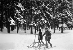 Vintage Winter: Children, on their kick-sleds, possibly on their way to school. Stockhom, Sweden. Circa 1922. Photo Credit: Swedish National Heritage Board