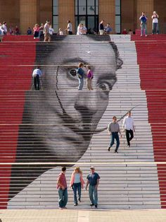 ...the steps of the Philadelphia Museum of Art (aka The Rocky Steps)...Salvador Dali Exhibit..  Street Art + Dali + Stairs = Effin' Cool