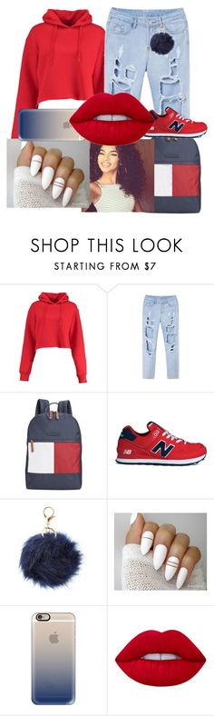 """Untitled #115"" by ognikki ❤ liked on Polyvore featuring Boohoo, Tommy Hilfiger, New Balance, Charlotte Russe, Casetify and Lime Crime"