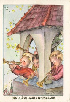 Neujahr - Turmbläser - signiert, 1966 | eBay