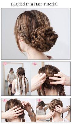 Messy braided bun - #hairbraid #hairbun #hairtutorial #hairupdo #hairstyle #multi-braid