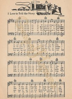 Sheet Music I Love To Tell The Story Country Decor by GospelHymns