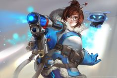"""Mei by Claparo-Sans   """"A few weeks ago I was commissioned by Blizzard Entertainment to create fan-art for one of the heroes from Overwatch. My first impression of Mei was that of an adorable sister that you'd feel comfortable hanging out with. Everything about Mei can be described as cuteness, I really enjoyed painting her chubby cheeks, fluffy coat. My favorite detail is how she holds her pinky finger up when holding a gun, which is such a feminine detail about her."""" —Claparo-Sans"""