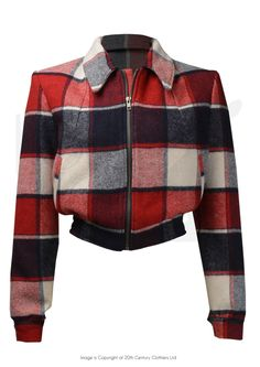 1940s Style Americana Zip-through Jacket in Red & Blue Check
