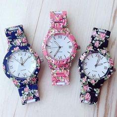 Fashion Floral Flower Watch Bracelet Watch Women Dress Watches Quartz Wristwatch Igual al mío Fancy Watches, Cute Watches, Stylish Watches, Women's Watches, Wrist Watches, Jewelry Watches, Moda Floral, Women's Dress Watches, Accessoires Iphone