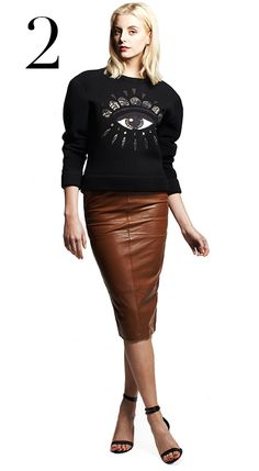 Fashion Editor Chic ...Fashion Editor Chic....Channel your inner street style star with this statement sweatshirt from Kenzo, partnered with a work-friendly (but seriously sexy!) leather pencil skirt. Kenzo sweatshirt, $475 at Opening Ceremony; Asos brown leather pencil skirt, $151.88, at asos.com; Tibi strappy heels, $395 at tibi.com; Catbird rings & ear cuffs & earrings, at catbirdnyc.com #FallFashion