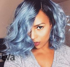 Pastel Blue Ombre Full Lace Virgin Human Hair Wig with Dark Root - Blue - EvaWigs