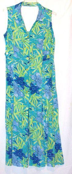 White Stag Hawiian Style Dress Blue Hibiscus  Size 14 Sleeveless Beach Casual #WhiteStag #Sundress #SummerBeach
