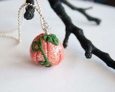 Sparkling Orange Pumpkin Necklace Polymer by HopeFilledJewelry