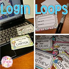 Login Loops - Freebie - Make one for each student. Great way to keep all those usernames and passwords from getting lost. 5th Grade Classroom, School Classroom, School Teacher, School Fun, Future Classroom, Classroom Ideas, Classroom Freebies, Teacher Stuff, Middle School