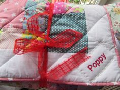 Poppy's Quilt - a handmade present for a new baby girl - by Adaliza New Baby Girls, Be Kind To Yourself, Poppies, New Baby Products, Presents, Gift Wrapping, Quilts, Handmade, Scrappy Quilts